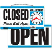 """U.S. Stamp & Sign Open/Closed Sign, 9395, W/Please Call Again, 11-1/2"""" X 6"""", Blue/White"""