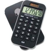 "Victor® 8-Digit Pocket Calculator, 900, Dual Power, 2-1/2"" X 4-5/8"" X 1/4"", Black"