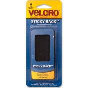 """VELCRO® Brand U.S.A. Inc Heavy-Duty Sticky Back Tape, 1""""x2"""", 6/PK, Black"""