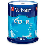 Verbatim® CD-R Discs, 94554, 52X, 700MB/80Min, Branded, Spindle, 100/Pk, Silver