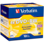 Verbatim® DVD+RW, 94839, 1X-4X Speed, 4.7GB, Branded, 10/Pk