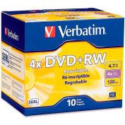 Verbatim® DVD+RW, 94839, 1X-4X Speed, 4.7GB, Branded, 10/Pk
