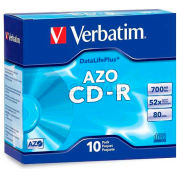 Verbatim® CD-R Discs, 94935, 52X, 700MB/80Min, Branded, Slim Case, 10/Pk