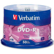 Verbatim® DVD+R, 95037, 16X Speed, 4.7GB, Branded, For Recorders/Drives, 50/Pk
