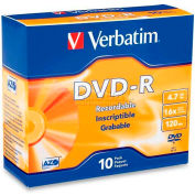 Verbatim® DVD-R, 95099, 16X Speed, 4.7GB, Branded, 2 Hours Recording, 10/Pk
