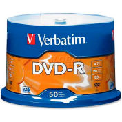 Verbatim® DVD-R, 95101, 16X Speed, 4.7GB, For Recoreders/Drives, Branded, 50/Pk