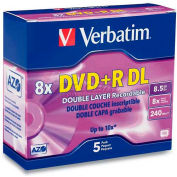 Verbatim® DVD+R, 95311, 8X Speed, 8.5GB, W/Jewel Case, Double Layer, Branded, 5/Pk