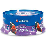Verbatim® DVD+R, 96190, 16X Speed, 4.7GB, Inkjet/Hub Printable, 25/Pk, White
