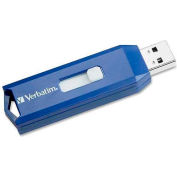 Verbatim® USB Flash Drive, 97088, Retractable, 8GB, Blue