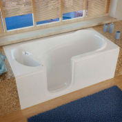MediTub 3060 Series Rectangular Soaking Walk-In Bathtub, 30 x 60, Left Drain, White