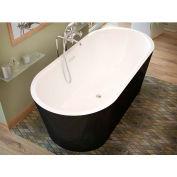 Atlantis Whirlpools Valley Oval Soaking Bathtub, 32 x 63, Center Drain, White Inside, Black Outside