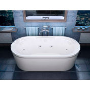 Atlantis Whirlpools Royale Oval Freestanding Whirlpool Bathtub, 34 x 67, Center Drain, White