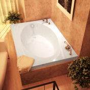 Atlantis Whirlpools Vogue Rectangular Soaking Bathtub, 42 x 72, Center Drain, White