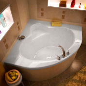 Atlantis Whirlpools Alexandria Corner Soaking Bathtub, 60 x 60, Center Drain, White