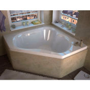 Atlantis Whirlpools Cascade Corner Whirlpool Bathtub, 60 x 60, Center Drain, White