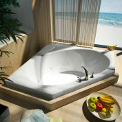 Atlantis Whirlpools Eclipse Corner Whirlpool Bathtub, 60 x 60, Center Drain, White