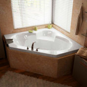Atlantis Whirlpools Sublime Corner Soaking Bathtub, 60 x 60, Center Drain, White