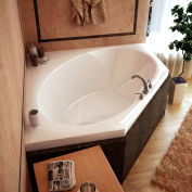 Atlantis Whirlpools Venus Corner Soaking Bathtub, 60 x 60, Center Drain, White