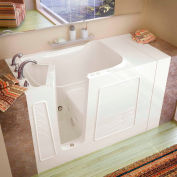 Spa World Venzi Rectangular Whirlpool Walk-In Bathtub, 30x53, Left Drain, Biscuit