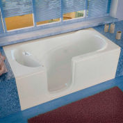 Spa World Venzi Rectangular Whirlpool Walk-In Bathtub, 30x60, Left Drain, White