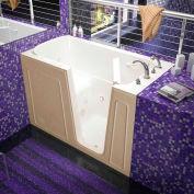 Spa World Venzi Rectangular Whirlpool Walk-In Bathtub, 32x60, Right Drain, Biscuit