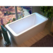 Spa World Venzi Aquilia Rectangular Soaking Bathtub Bathtub, 32x67, Center Drain, White
