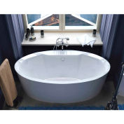 Spa World Venzi Sole Oval Soaking Bathtub Bathtub, 34x68, Center Drain, White