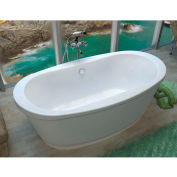 Spa World Venzi Ardea Oval Soaking Bathtub Bathtub, 36x66, Center Drain, White
