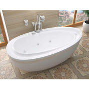 Spa World Venzi Tullia Oval Whirlpool Bathtub, 38x71, Reversible Drain, White