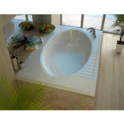 Spa World Venzi Viola Rectangular Whirlpool Bathtub, 42x72, Center Drain, White