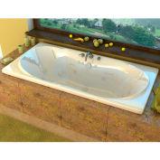 Spa World Venzi Bello Rectangular Whirlpool Bathtub, 42x72, Center Drain, White