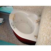 Spa World Venzi Esta Corner Whirlpool Bathtub, 60x60, Center Drain, White