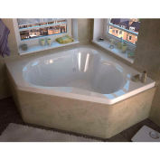 Spa World Venzi Tovila Corner Whirlpool Bathtub, 60x60, Center Drain, White