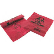 "Medegen Infectious Waste Disposal Bags, 3 Gallon, 1.25 mil, 14""W x 18.5""L, Red, 200/Box"