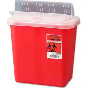 Biohazard Sharps Container W/Clear Lid, 2 Gallon, Red