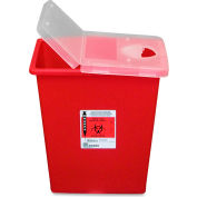 Biohazard Sharps Container with Hinged Lid, 8 Gal. Capacity, Red