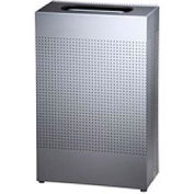 Rubbermaid® Silhouette SR14E Rectangular Open Top Receptacle w/Liner, 13 Gal. - Silver Metallic