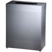 Rubbermaid® Silhouette SR18E Rectangular Open Top Receptacle, 40 Gallon - Silver Metallic