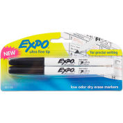 EXPO® Low-Odor Dry Erase Marker - Ultra Fine Point - Black - 2 Pack
