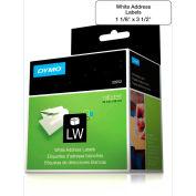 "DYMO® LW Address Labels 1 1/8"" x 3 1/2"" Black on White"