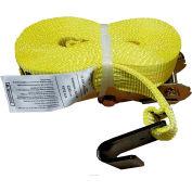 "Safeway 10P20FH 2"" x 20' Ratchet with Flat Hooks 10,000 Lb. Capacity"