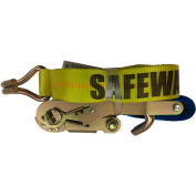 """Safeway 10P30WH 2"""" x 30' Ratchet with Wire Hooks 10,000 Lb. Capacity, Yellow"""