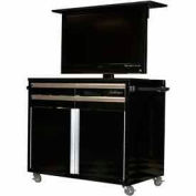Mobile Television Tool Chest Cabinet, Black