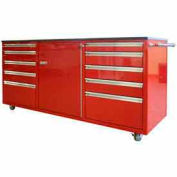 Large Rolling Tool Chest Cabinet, Double Drawer Bank, Red