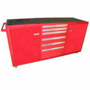 Large Rolling Tool Chest Cabinet, Single Drawer Bank, Red