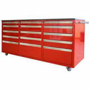Large Rolling Tool Chest Cabinet, Triple Drawer Bank, Red