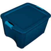 "Sterilite 18 Gallon Latch & Carry Tote 14467406 True Blue/Blue Aquarium 23-5/8"" x 18-5/8"" x 13-5/8"" - Pkg Qty 6"