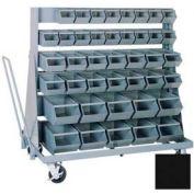 """Stackbin® Mobile Steel Hopper Bin Unit, 51""""W X 32""""D X 50-1/2""""H, 84 Steel Bins, Black"""