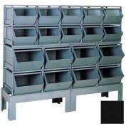 "Stackbin® Steel Hopper Bin Compartment System, 68""W X 24""D X 58""H, 18 Steel Bins, Black"