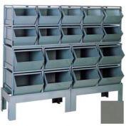 """Stackbin® Steel Hopper Bin Compartment System, 68""""W X 24""""D X 58""""H, 18 Steel Bins, Gray"""